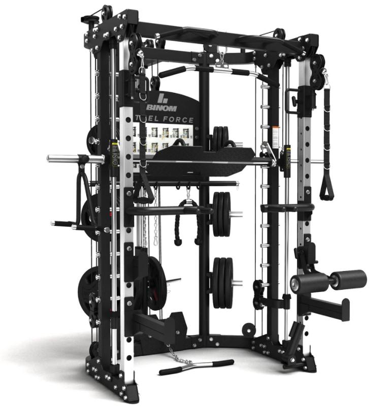 Binom Steel Force B10 Multigimnasio, Doble Polea, Power Rack, Multipower, Prensa de Piernas y accesorios