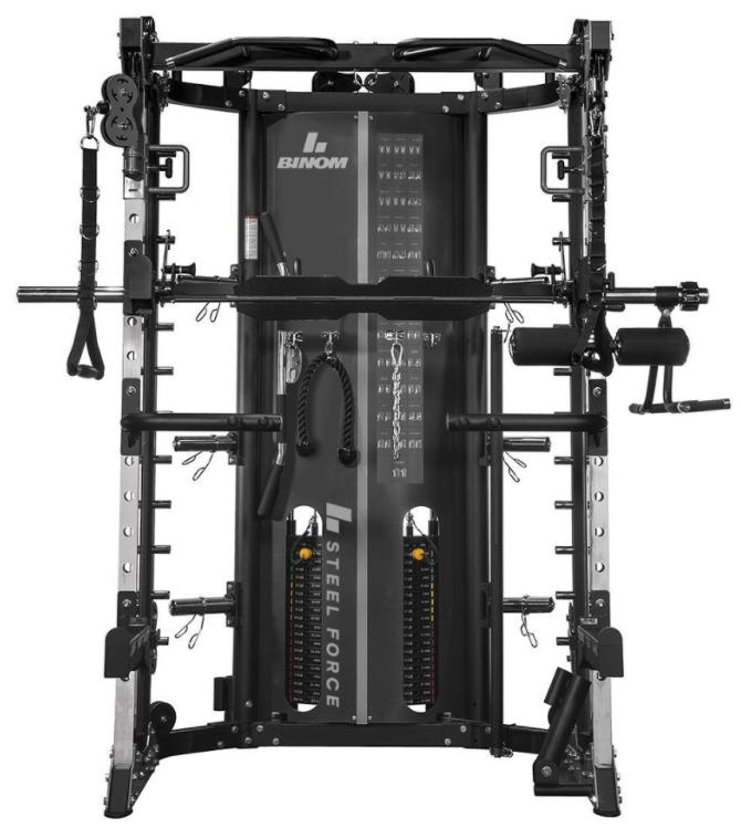 Binom Steel Force B13 Multigimnasio, Doble Polea (90,5 kg) Power Rack, Multipower, Prensa de Piernas y accesorios - 100% Profesional