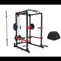 Jaula de Sentadillas con Polea + 80 kgs + Barra de 220 50mm Profesional