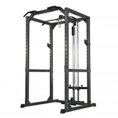 Bodymax Heavy Duty Power Rack con Polea Alta y baja + Barras de Fondos CF475